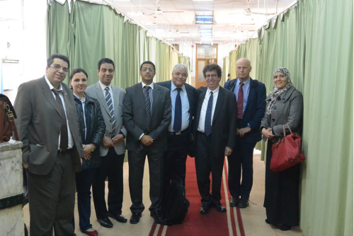 Neurology leadership from Cairo University lead WFN site visitors on tour of a hospital ward.